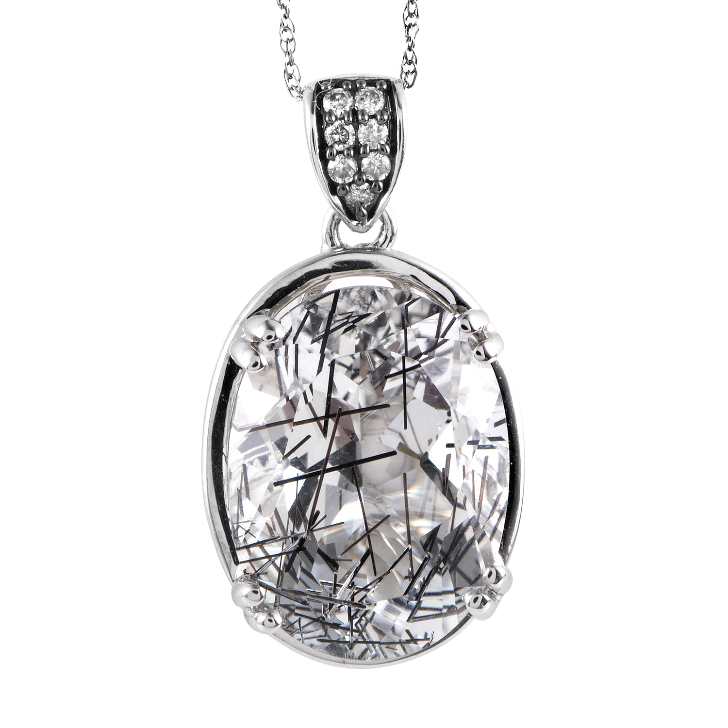 14K White Gold Diamond & Clear Quartz Pendant Necklace PD4-15239WQZ