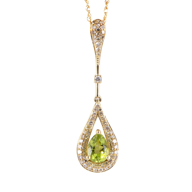 14K Yellow Gold Diamond & Peridot Pendant Necklace PD4-15246YPE