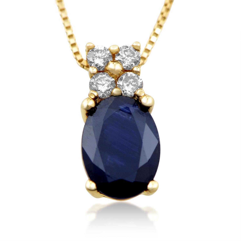 14K Yellow Gold Diamond & Sapphire Pendant Necklace PD4-15259YSA