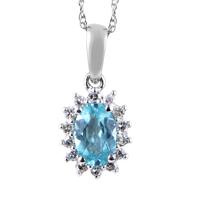 14K White Gold Diamond & Apatite Pendant Necklace PD4-15270WAPB