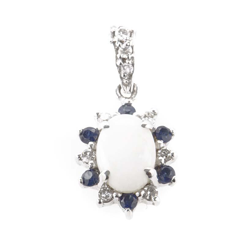 14K White Gold Opal & Sapphire Diamond Pendant PD4-01148WSPOPL