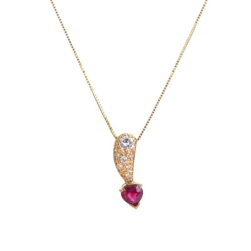 14K Yellow Gold Diamond & Ruby Heart Pendant Necklace PD4-02347YRU