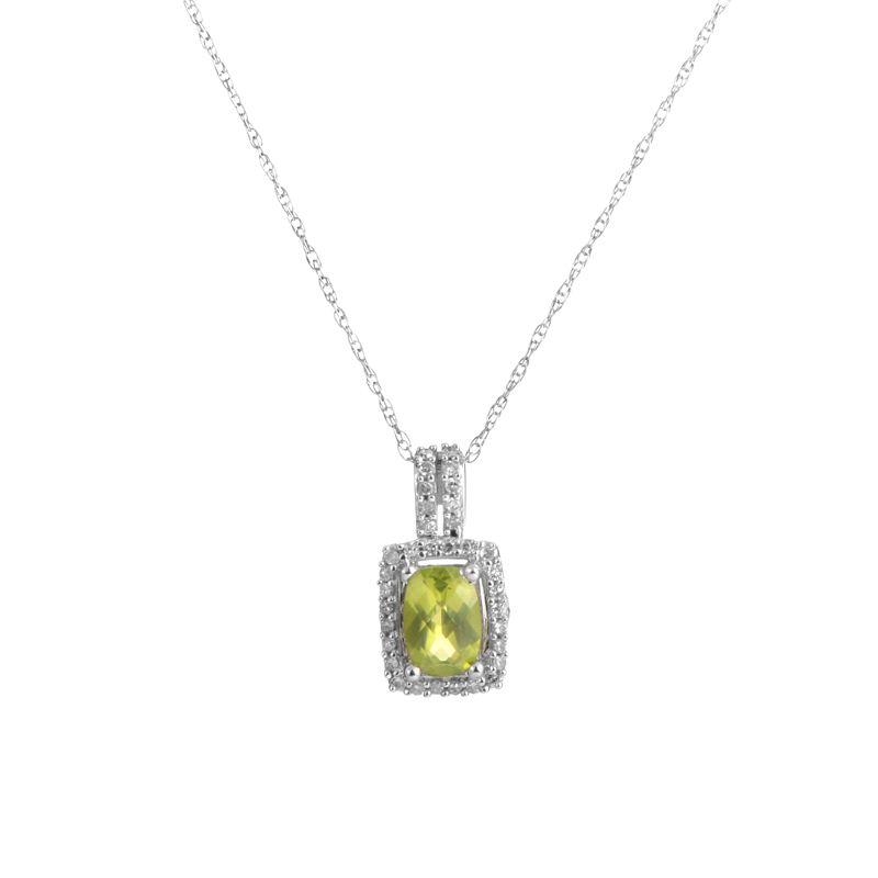 14K White Gold Peridot & Diamond Pendant Necklace PD4-15054WPE