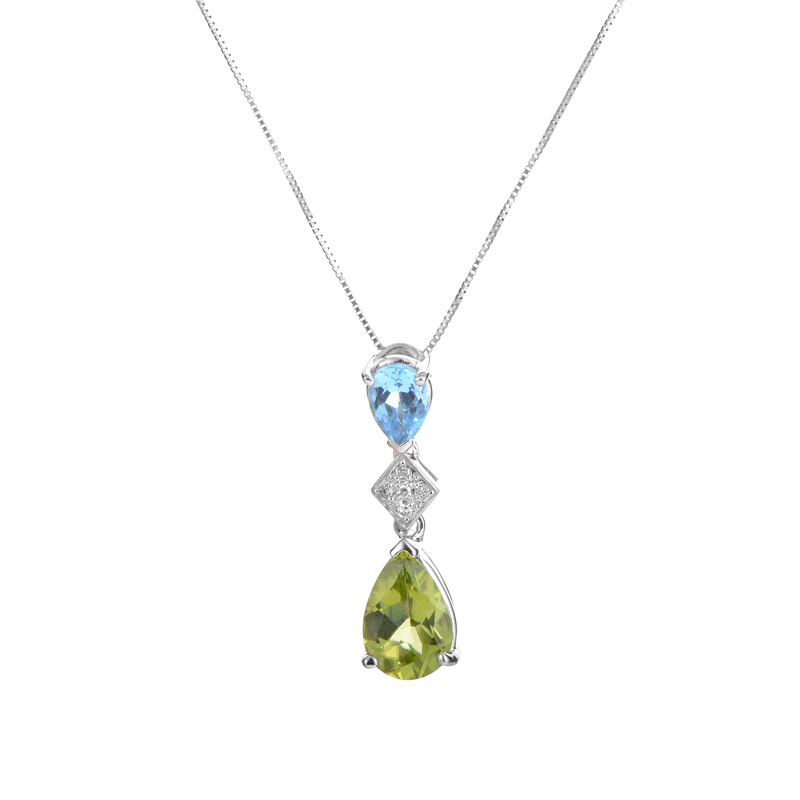 14K White Gold Gemstone & Diamond Pendant Necklace PD4-15068WTBPE