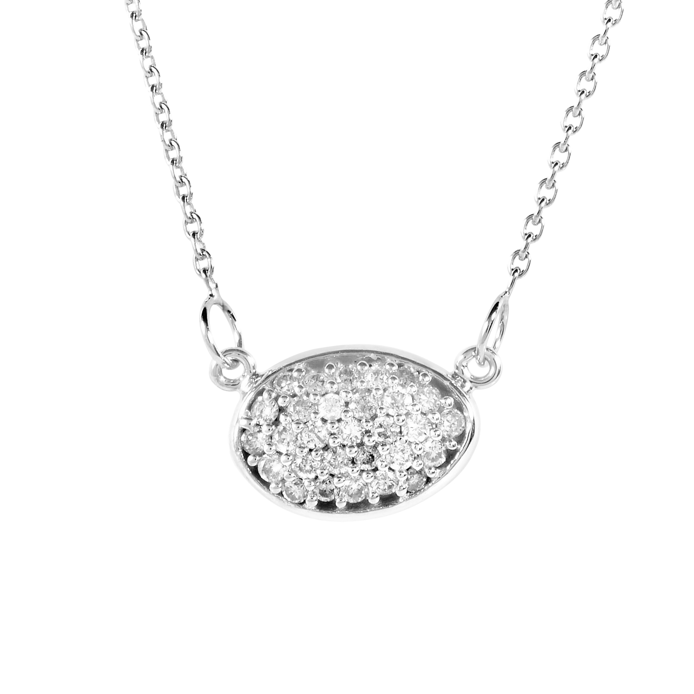 14K White Gold Diamond Pave Pendant Necklace PD4-15110W