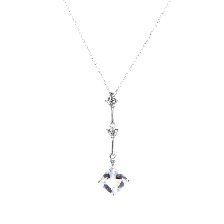 14K White Gold Aquamarine & Diamond Pendant Necklace PD4-15179WAQ