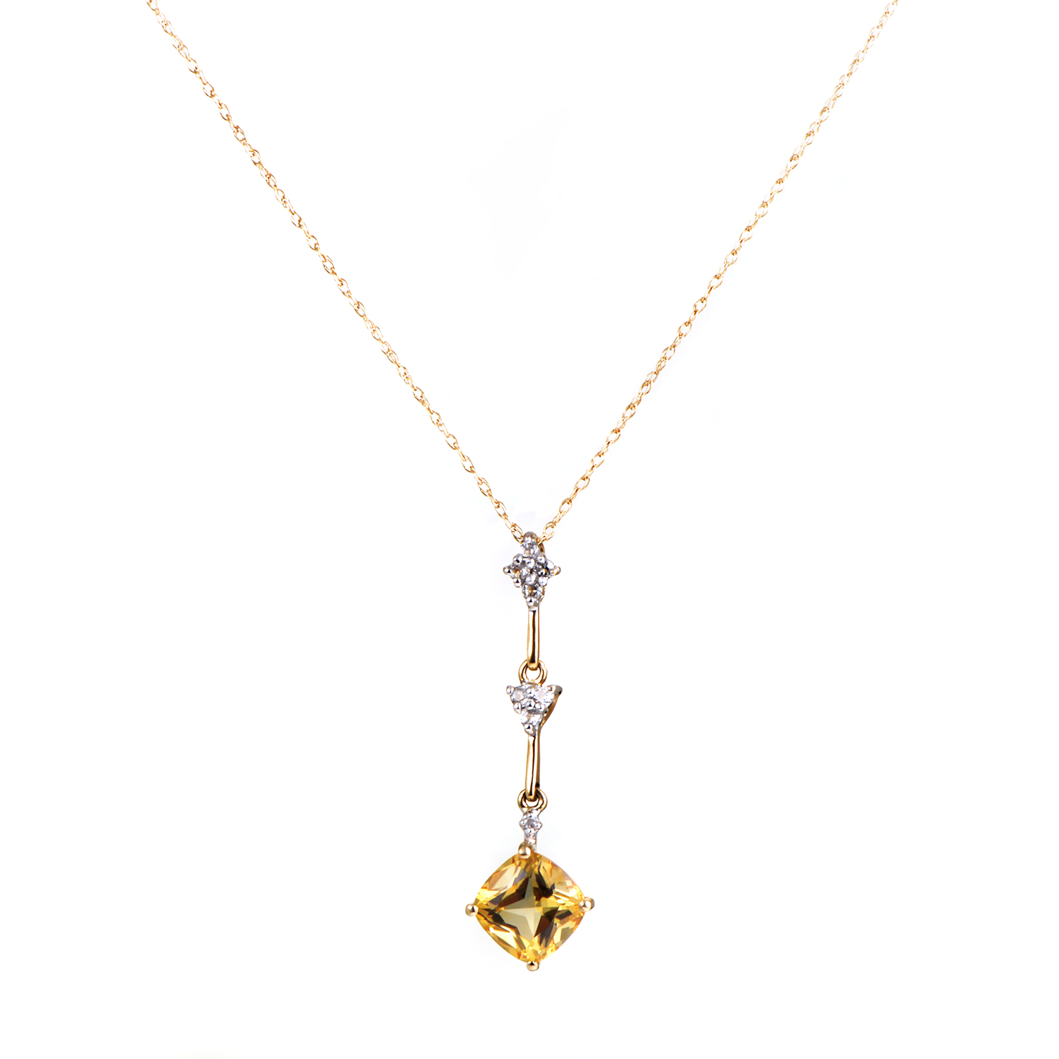 Womens 14K White and Yellow Gold Diamond and Citrine Pendant Necklace
