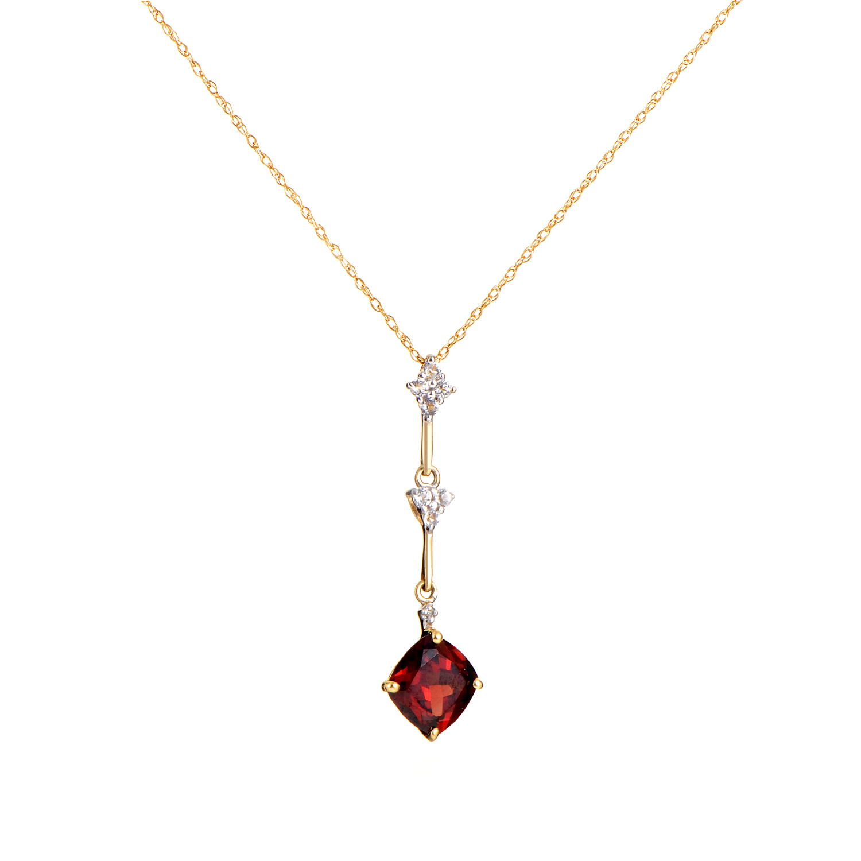 Women's 14K Mutli-Tone Gold Diamond & Garnet Pendant Necklace