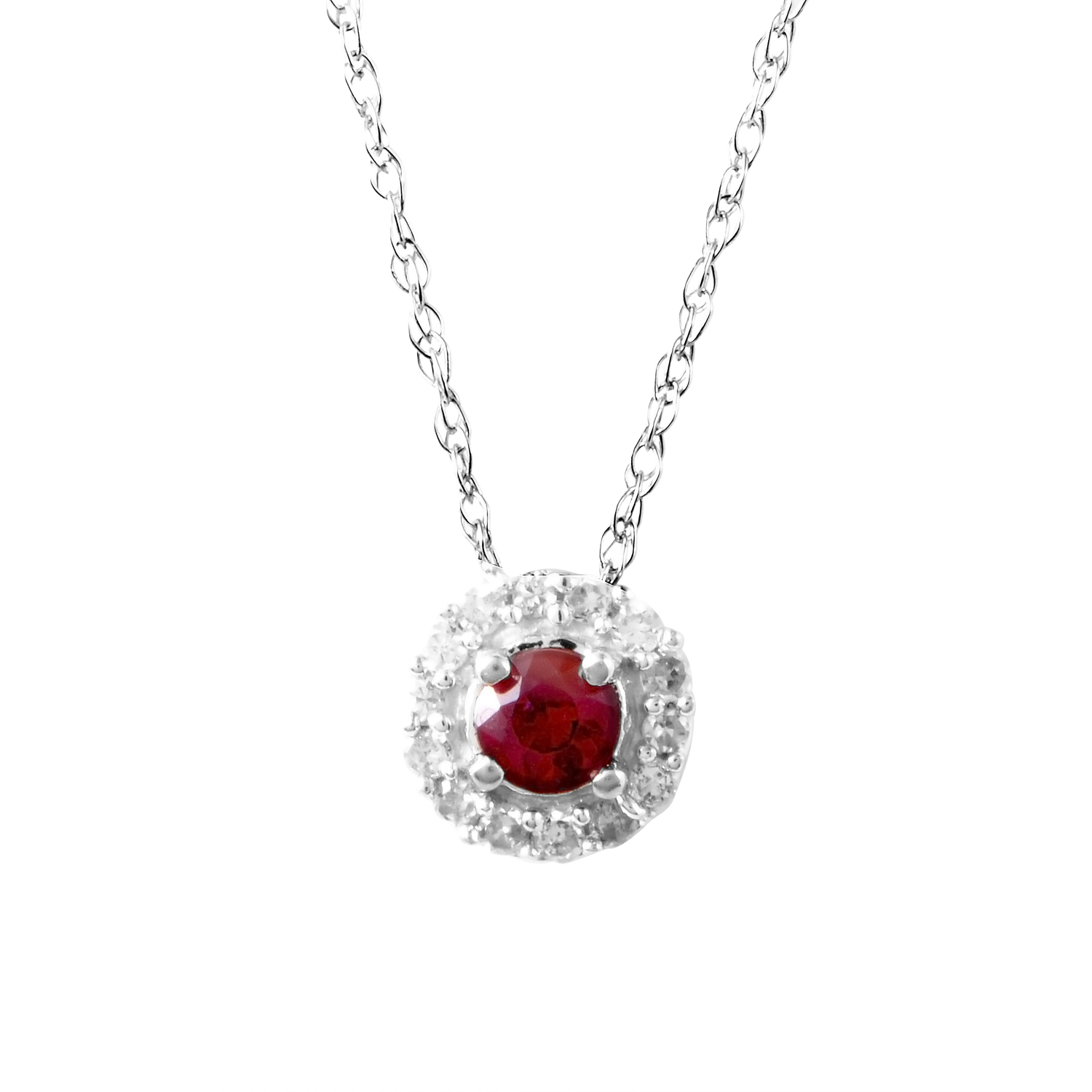 14K White Gold Diamond & Ruby Pendant Necklace PD4-15220WRU