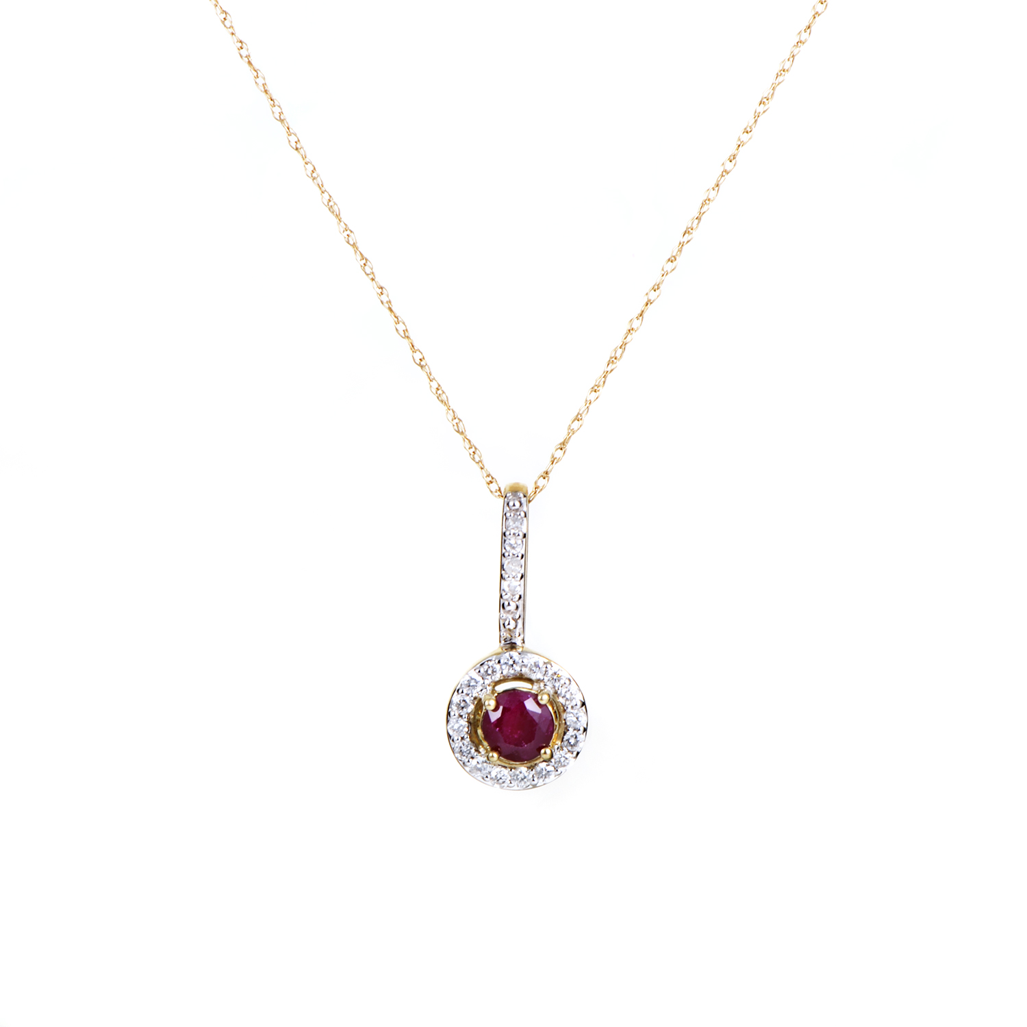 Women's 14K Yellow Gold Diamond & Ruby Solitaire Pendant Necklace PD4-15280YRU