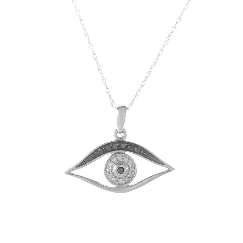 14K White Gold Black & White Diamond Eye Pendant Necklace