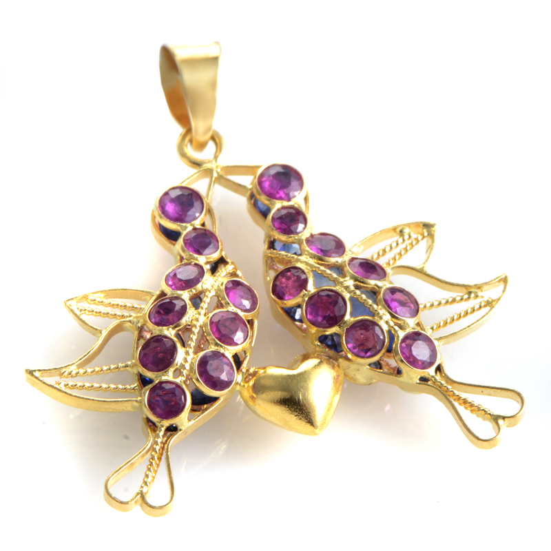 18K Yellow Gold Ruby & Sapphire Birds Pendant PD8-00240YRUSA