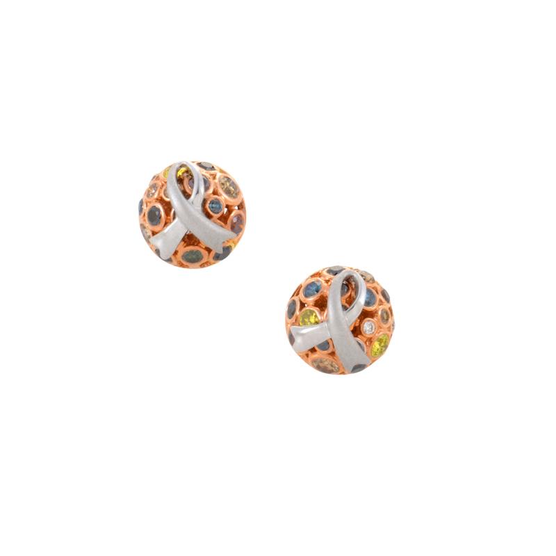 14K Multi-Gold Rainbow Diamond Earrings PSAG22-08271