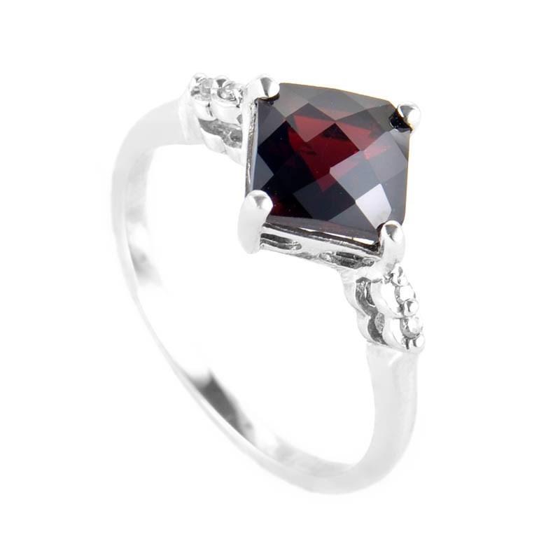 10K White Gold Garnet and Diamond Ring PSAG34-082412G
