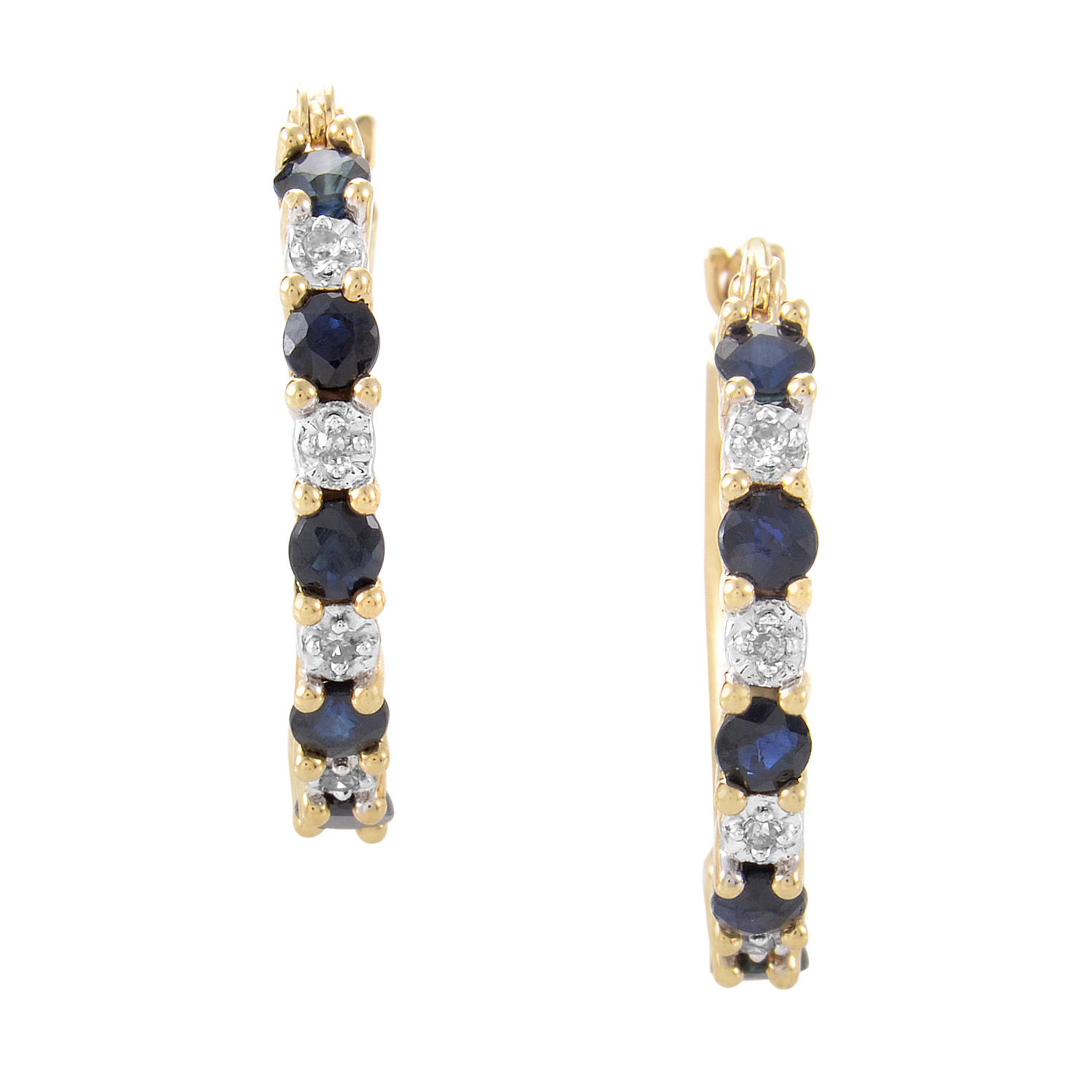 14K Yellow Gold Diamond & Sapphire Hoop Earrings PSB01-011214