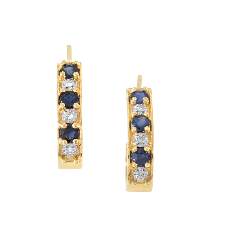 14K Yellow Gold Sapphire & Diamond Huggie Earrings PSB01-011314