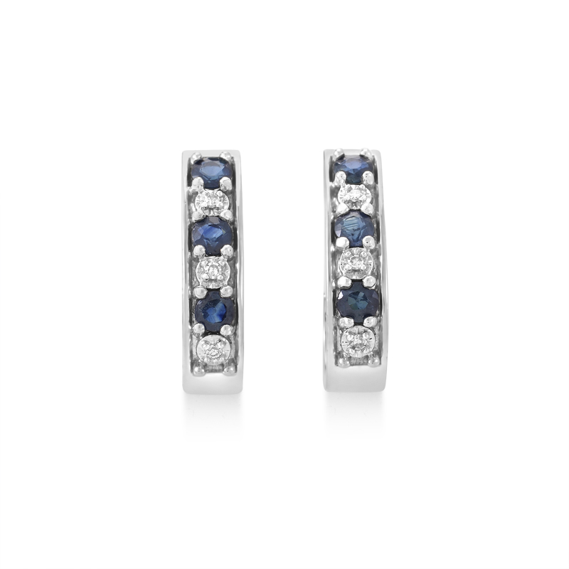 14K White Gold Sapphire & Diamond Huggie Earrings PSB02-011314