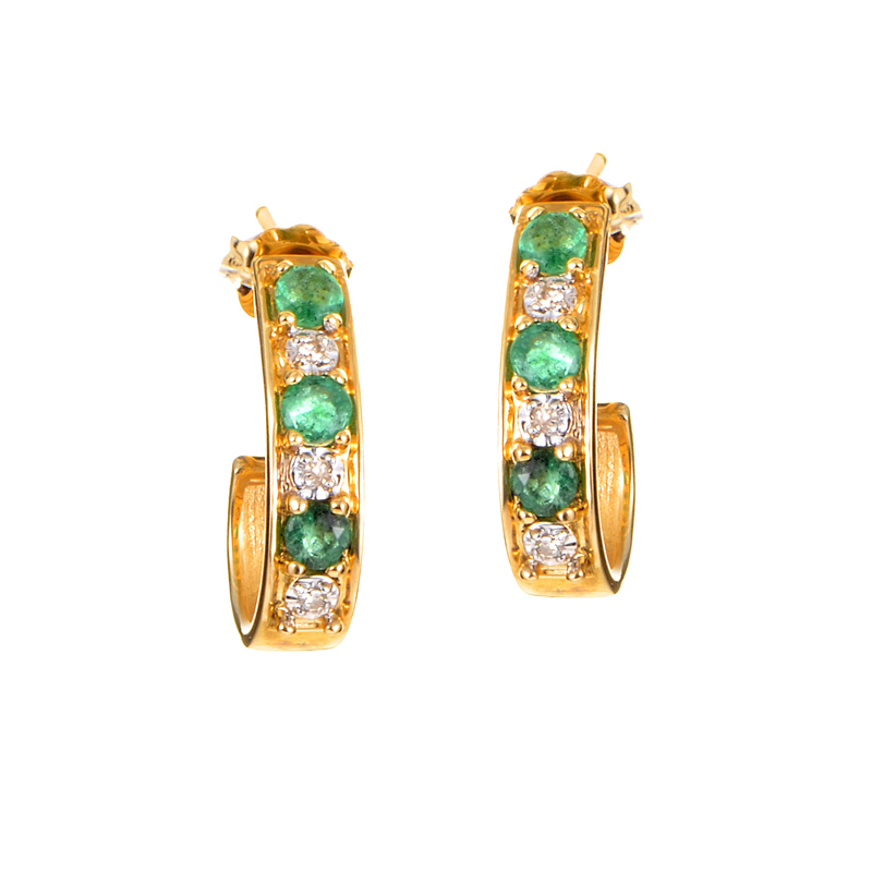 14K Yellow Gold Diamond & Emerald Huggie Earrings PSB03-011314