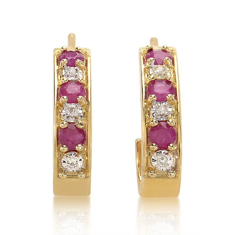14K Yellow Gold Diamond & Ruby Huggie Earrings PSB04-011314