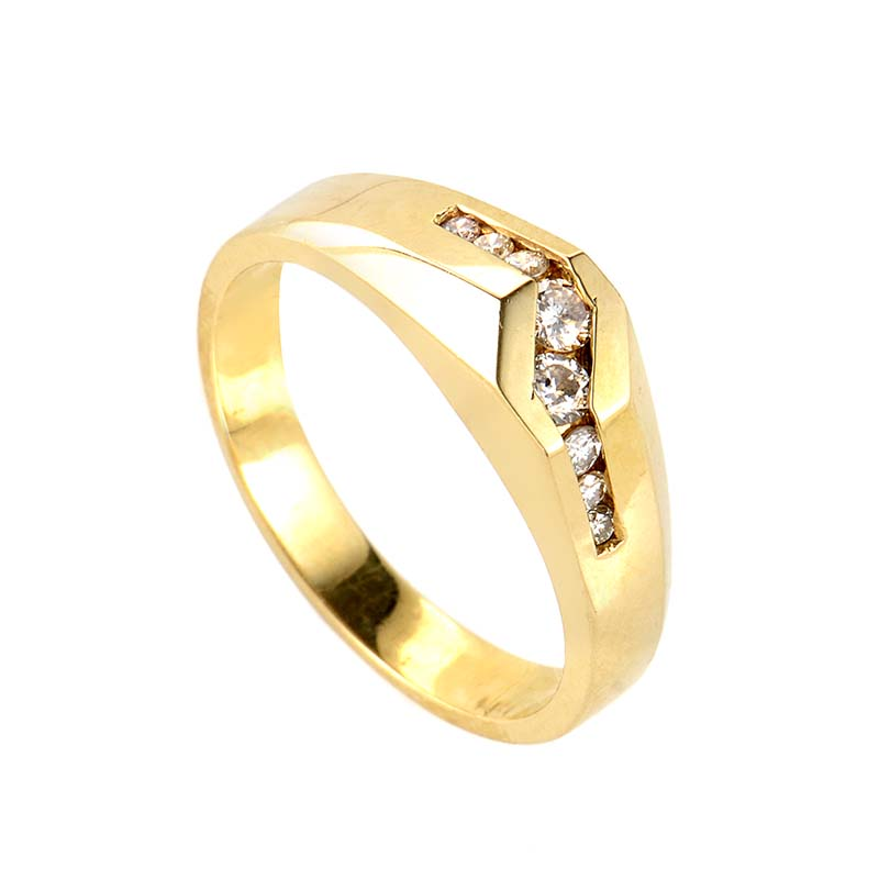 Men's 14K Yellow Gold Asymmetrical Diamond Band PSB05-062813