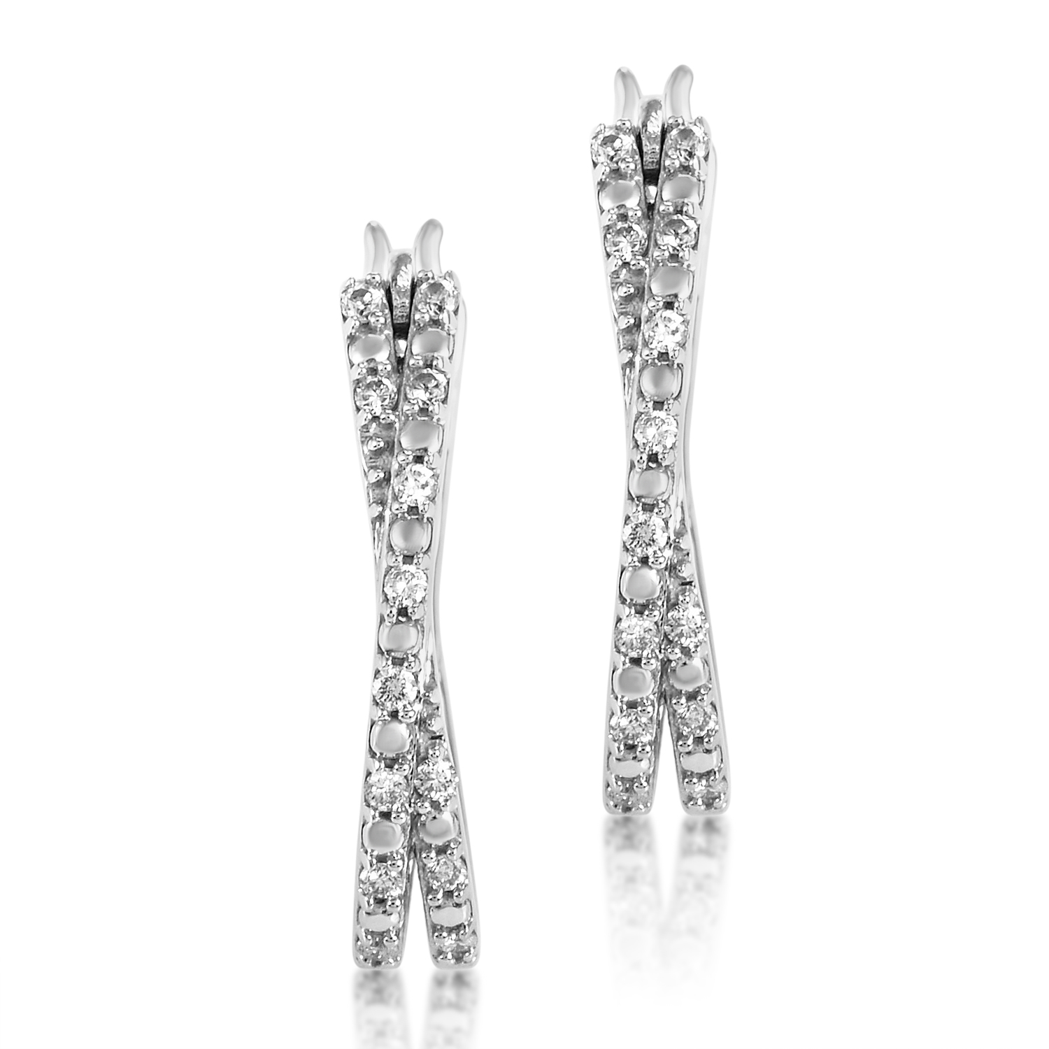 Women's 14K White Gold Crisscross Diamond Hoop Earrings PSB07-072116