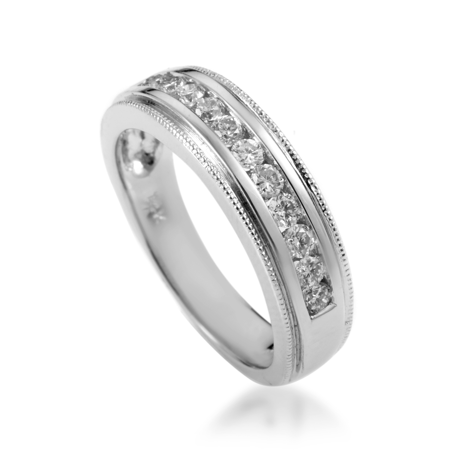 14K White Gold 12 Diamond Wedding Band PSB09-072116