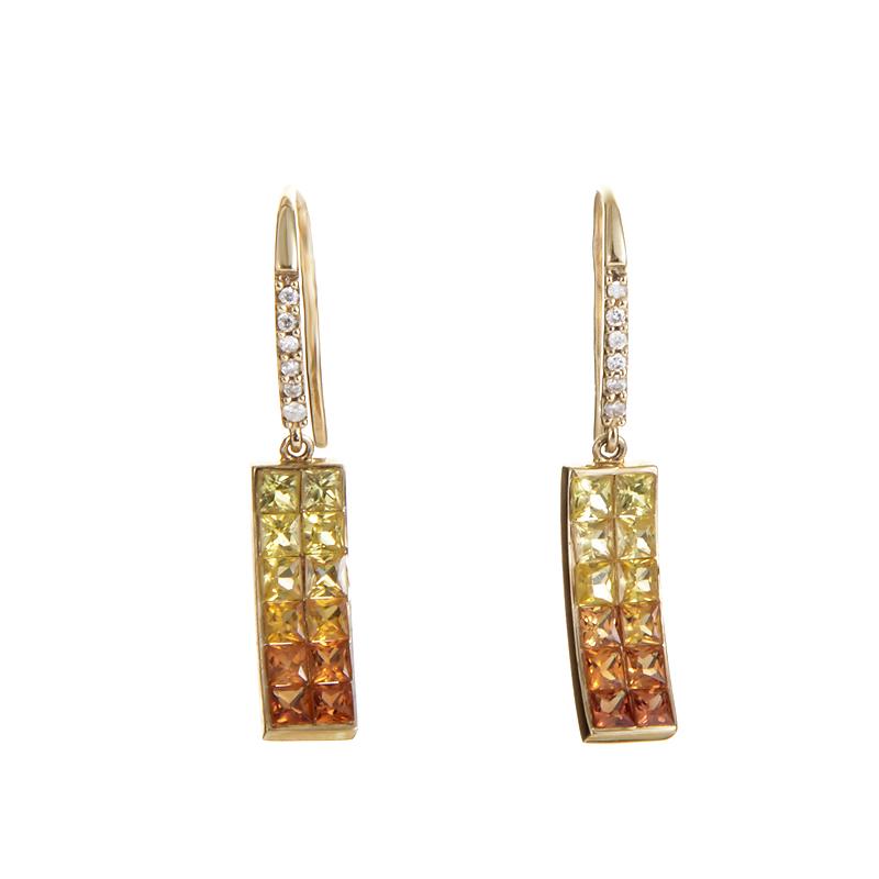 14K Yellow Gold Multi-Sapphire & Diamond Dangle Earrings PSB10-011314