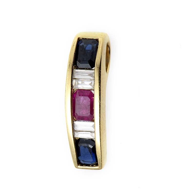 14K Yellow Gold Multi-Sapphire & Diamond Pendant