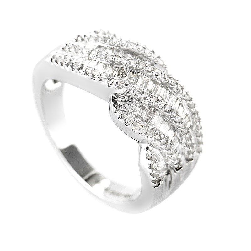 Refined 14K White Gold Diamond Pave Ring PSBS01-121112