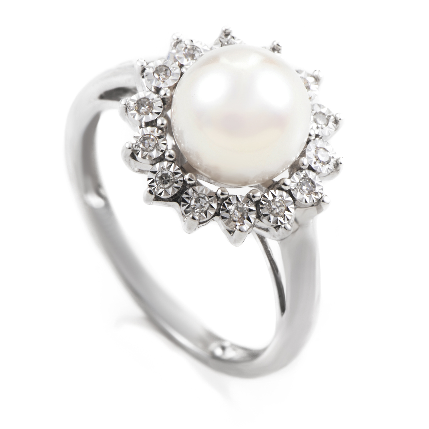 14K White Gold Diamond and Pearl Ring PSB06-011214