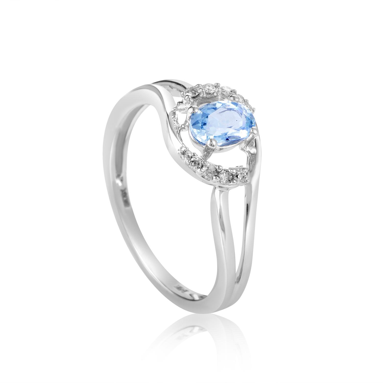 14K White Gold Aquamarine & Diamond Ring R1501B017AQU