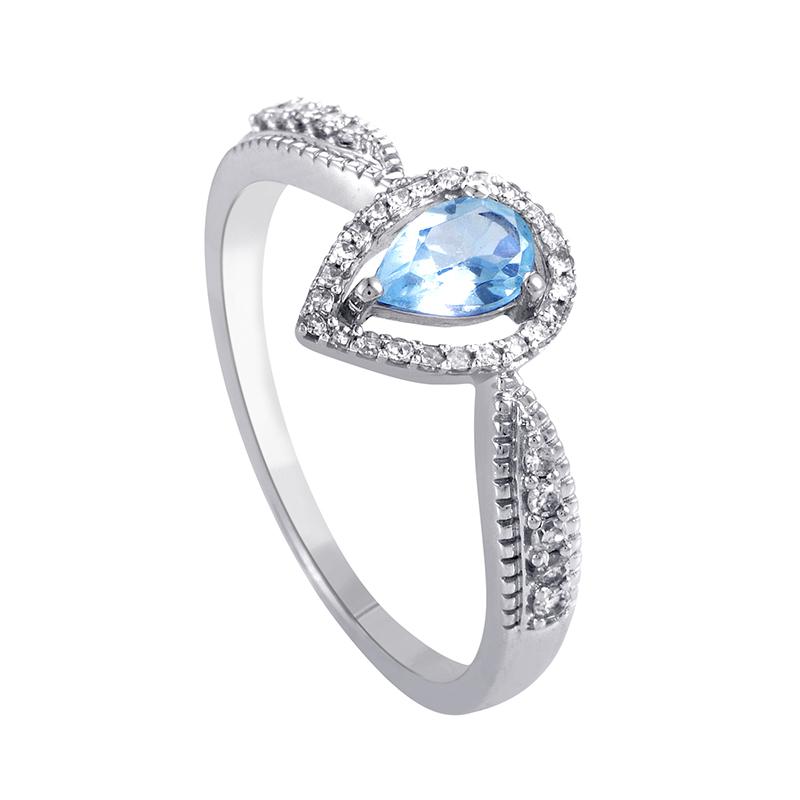 14K White Gold Aquamarine & Diamond Ring R1501B018AQU