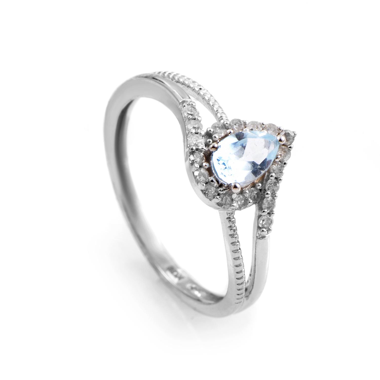 Women's 14K White Gold Aquamarine & Diamond Ring R1501B019AQU