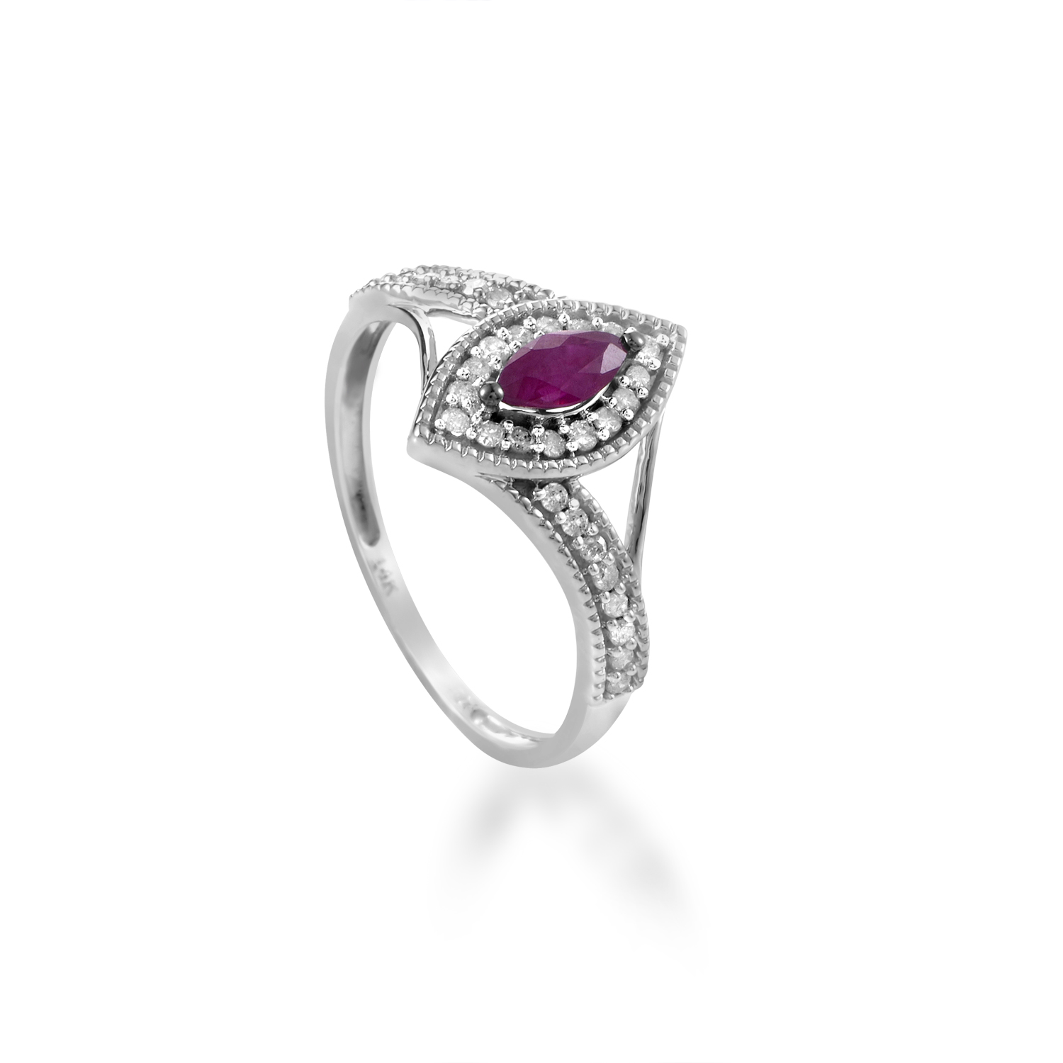 14K White Gold Ruby & Diamond Ring R1505P007RU