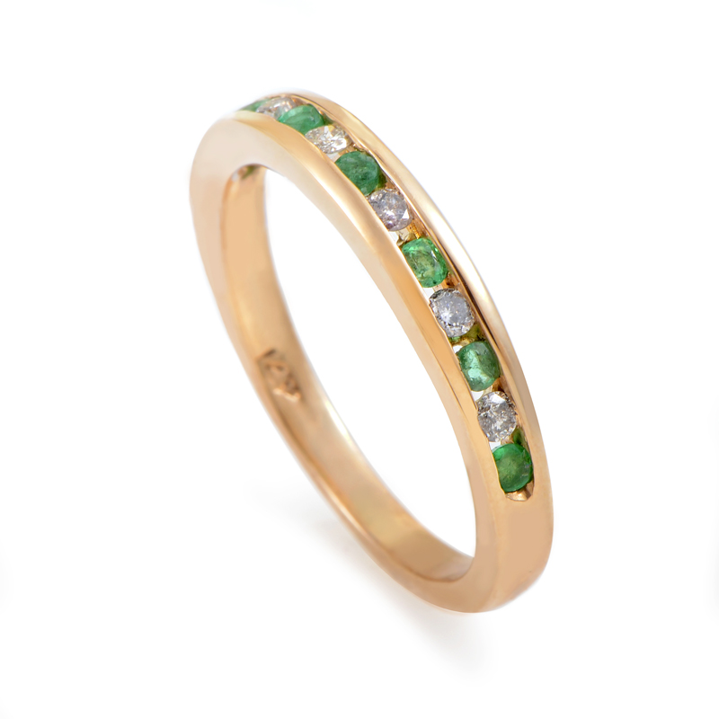 14K Yellow Gold Diamond & Emerald Band Ring RB410049WEM