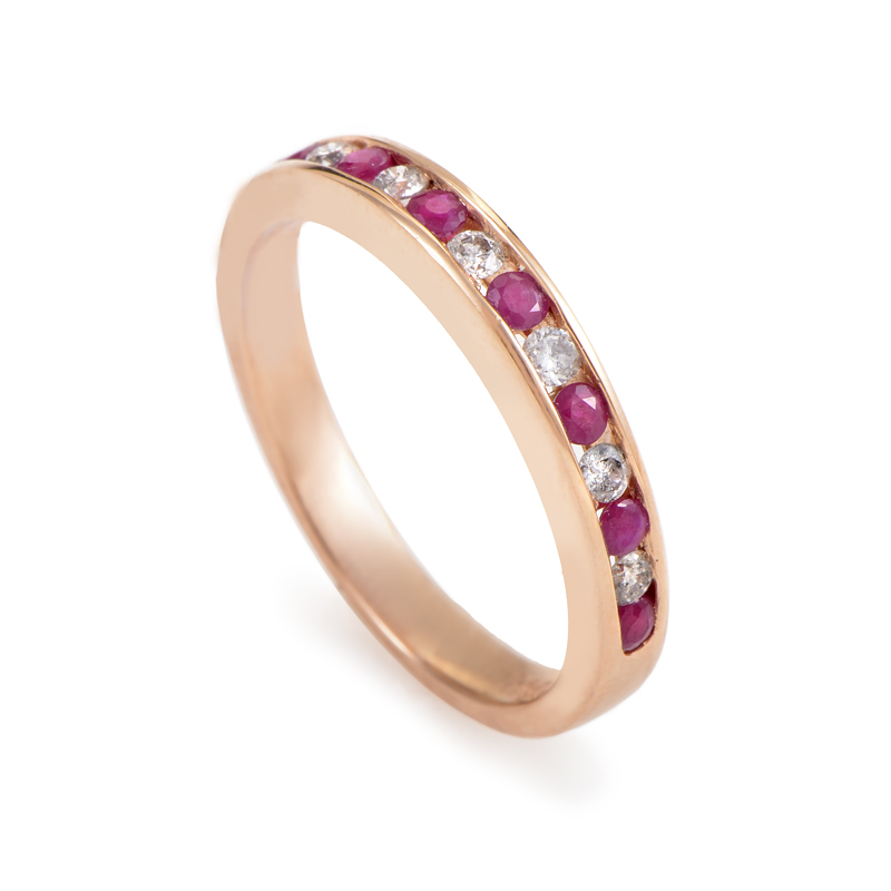 14K Rose Gold Diamond & Ruby Band Ring RB410049WRU