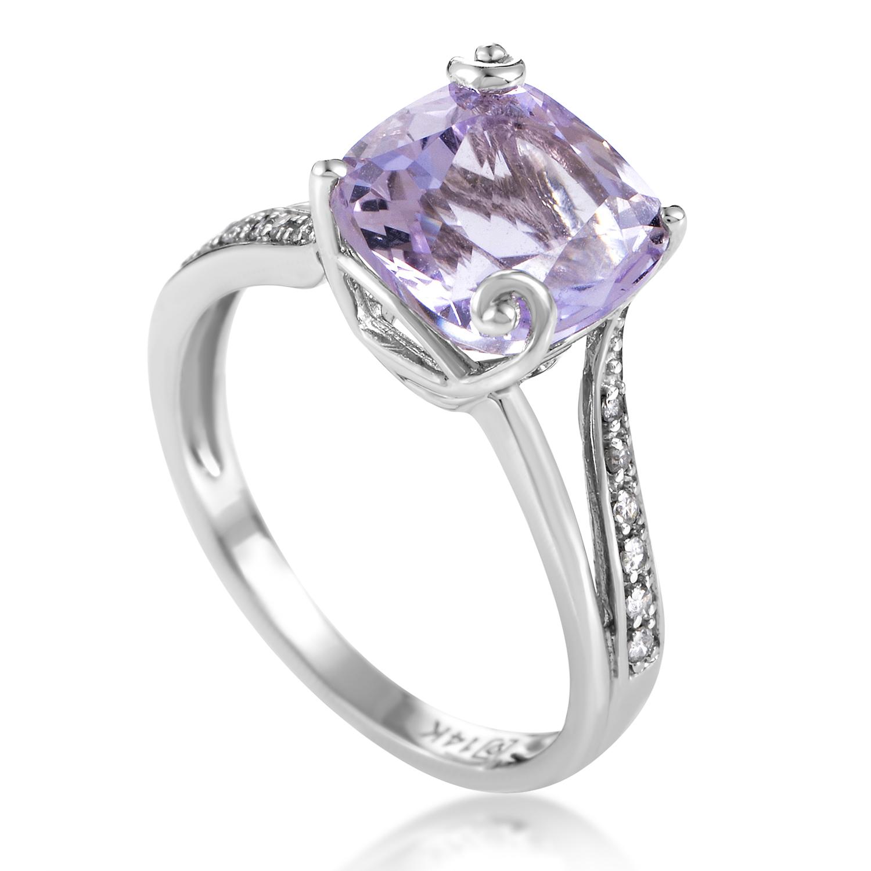 Women's 14K White Gold Diamond & Amethyst Ring RC4-10040WAM