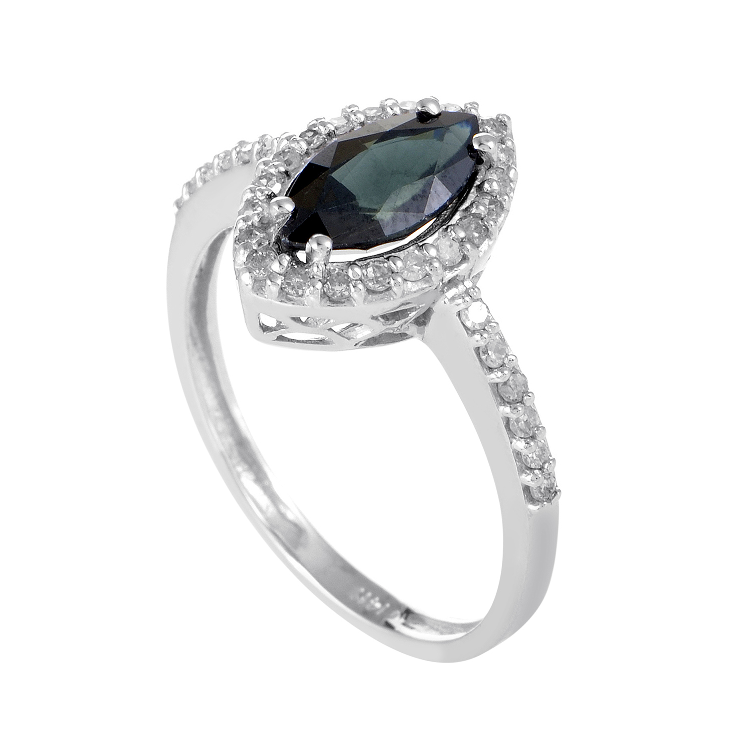 Women's 14K White Gold Diamond & Marquise Sapphire Ring RC4-10334WSA