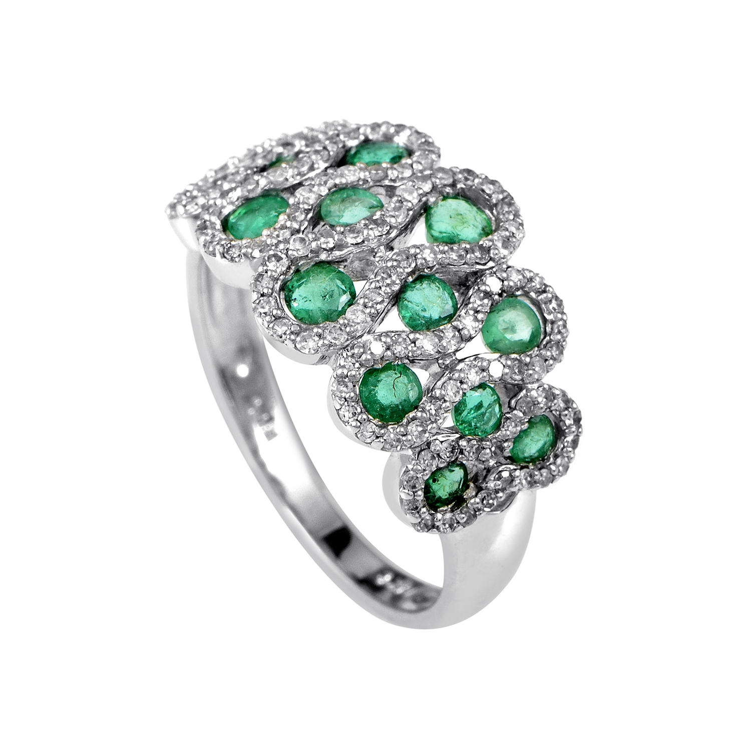 14K White Gold Diamond & Emerald Cluster Ring RC4-10420WEM