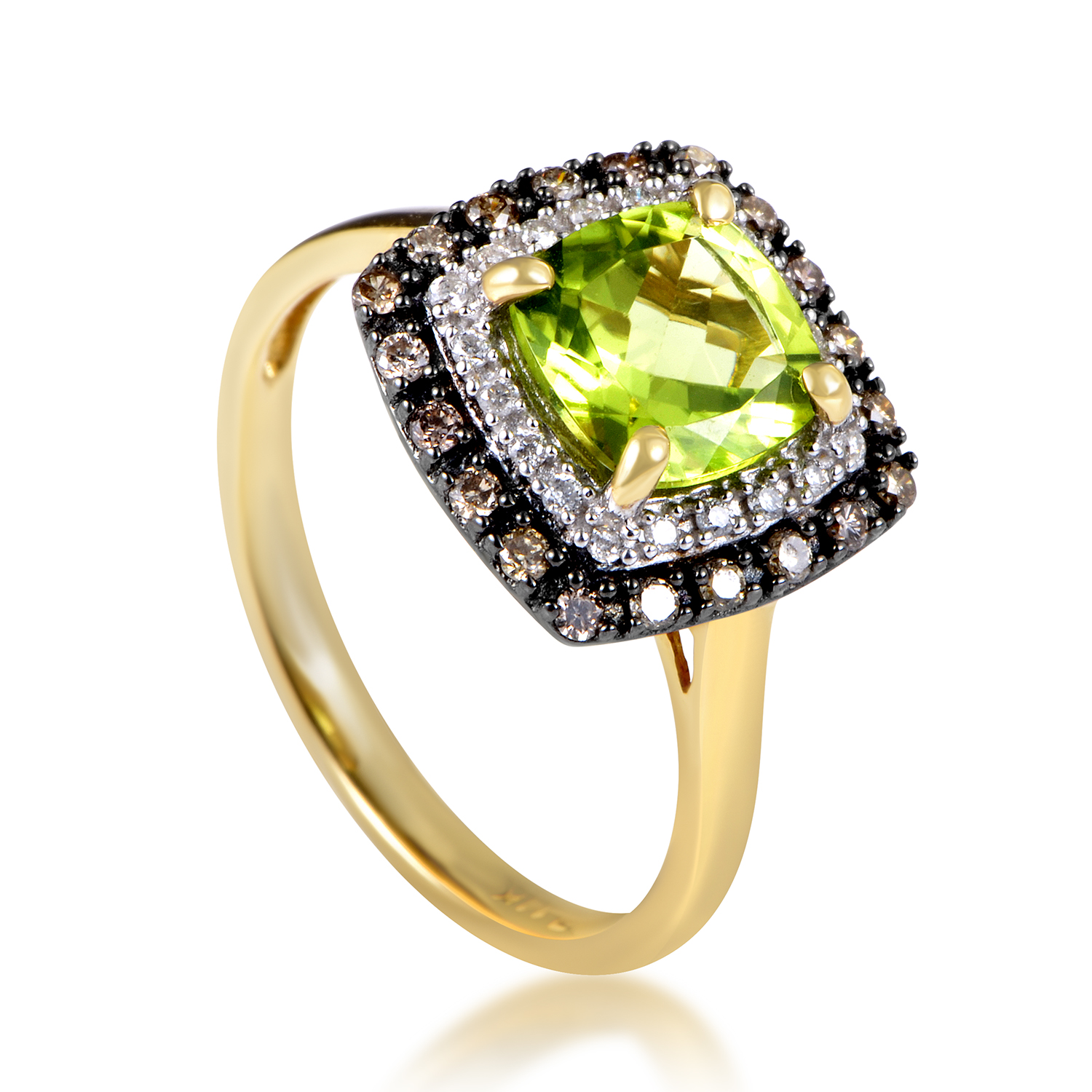 14K Yellow Gold Diamond & Peridot Ring RC4-10513YPE