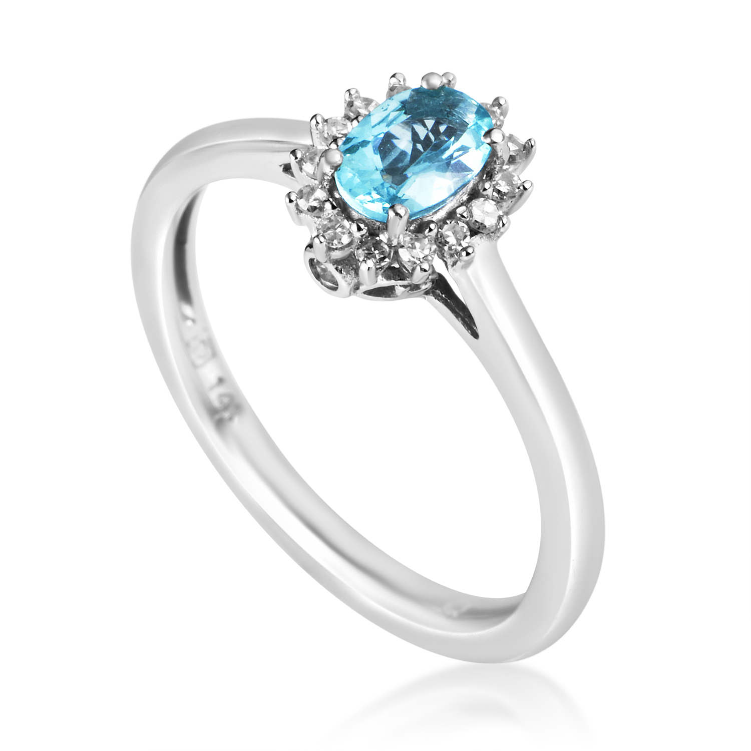 14K White Gold Diamond & Apatite Ring RC4-10517WAPB