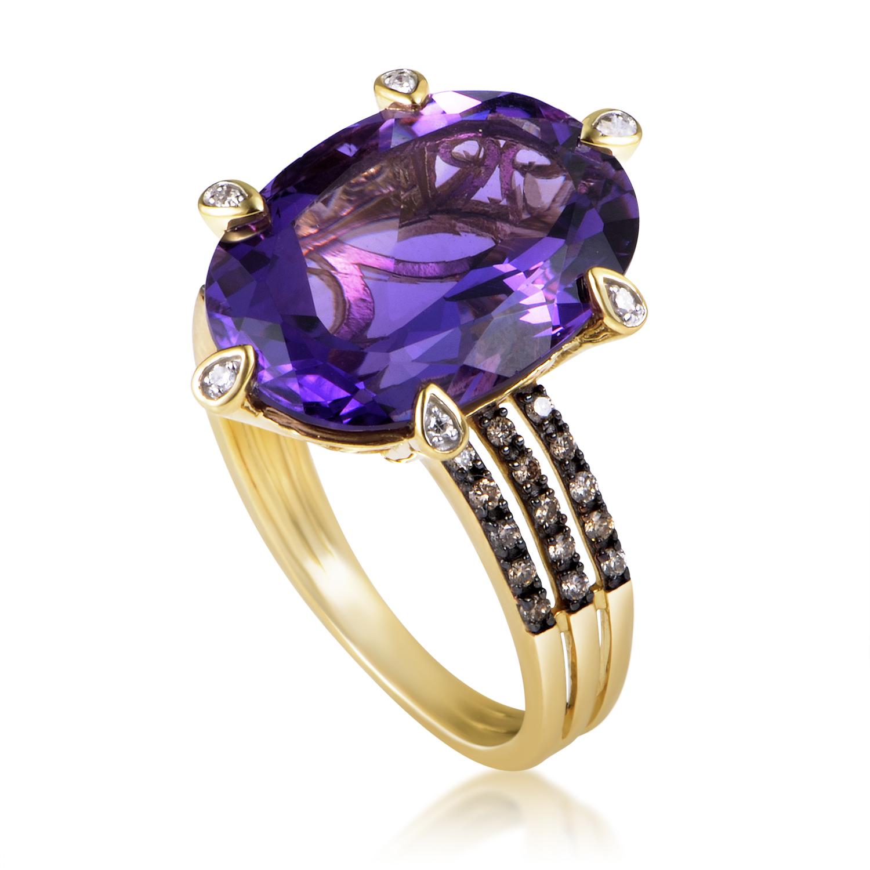 14K Yellow Gold Diamond & Amethyst Ring RC4-10523YAM