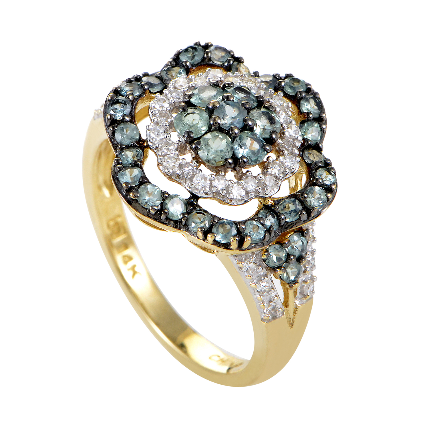 Women's 14K Yellow Gold Diamond & Alexandrite Flower Ring RC4-10525YAL