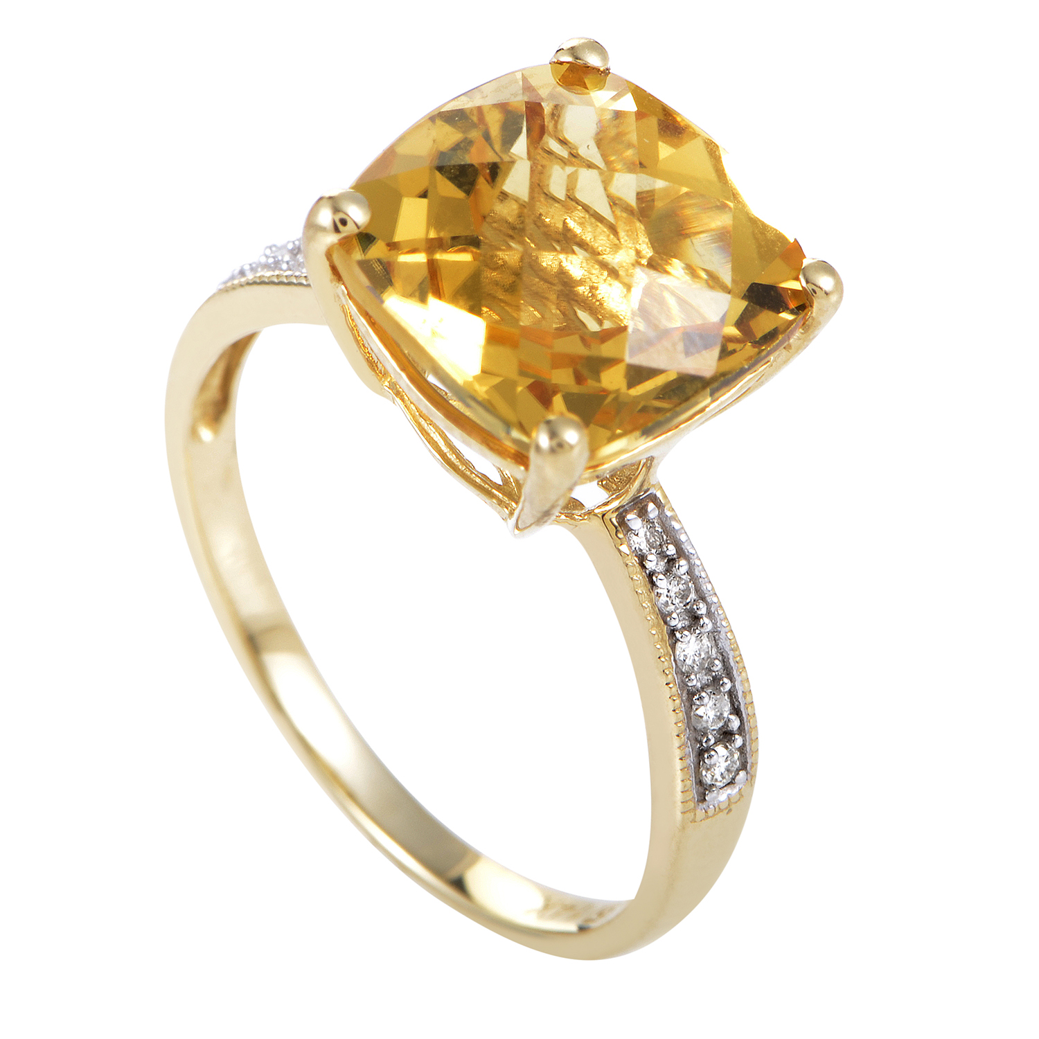 Women's 14K Yellow Gold Diamond & Citrine Cushion Ring RC4-10562YCI
