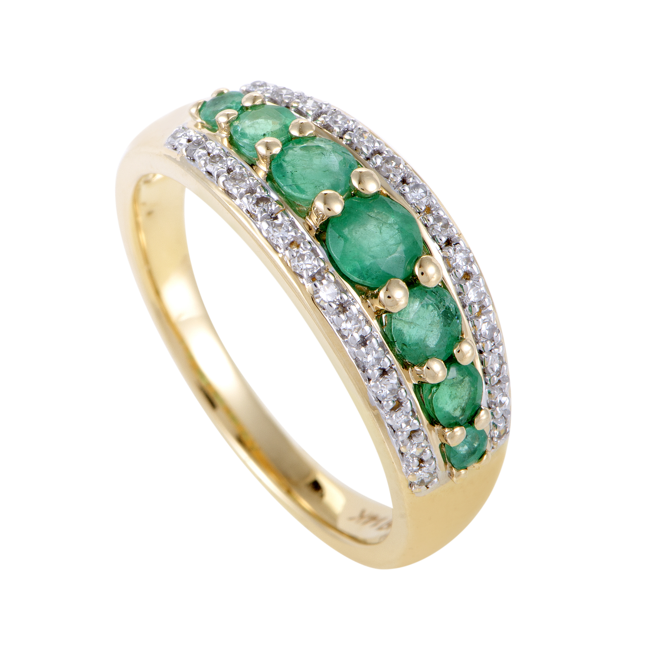 rings womens 14k yellow gold diamond and emerald band ring