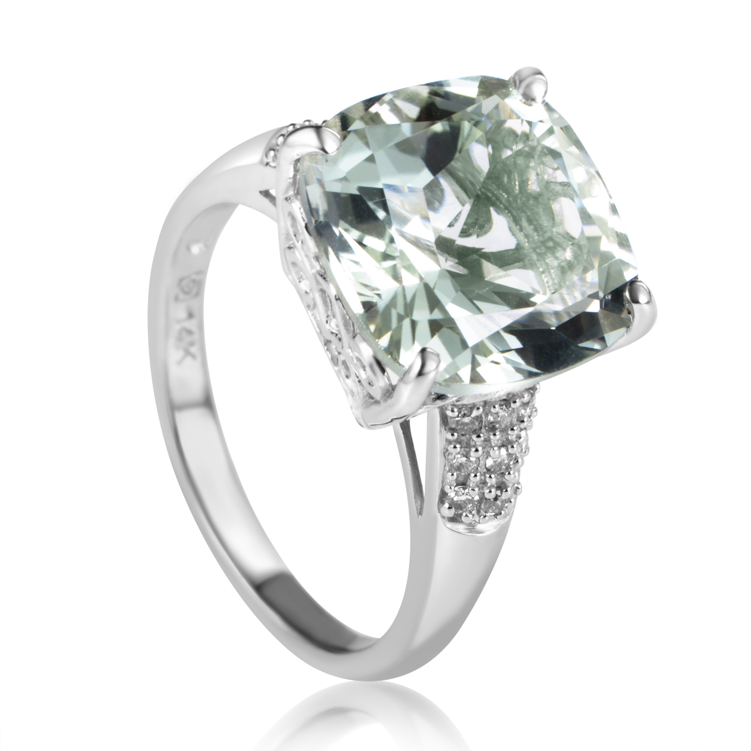 14K White Gold Diamond & Green Amethyst Ring RC4-10500WAMG
