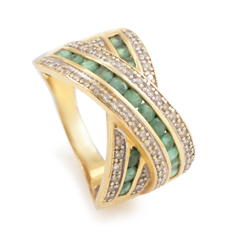 14K Yellow Gold Diamond & Emerald Crossover Ring RC4-10035YRU