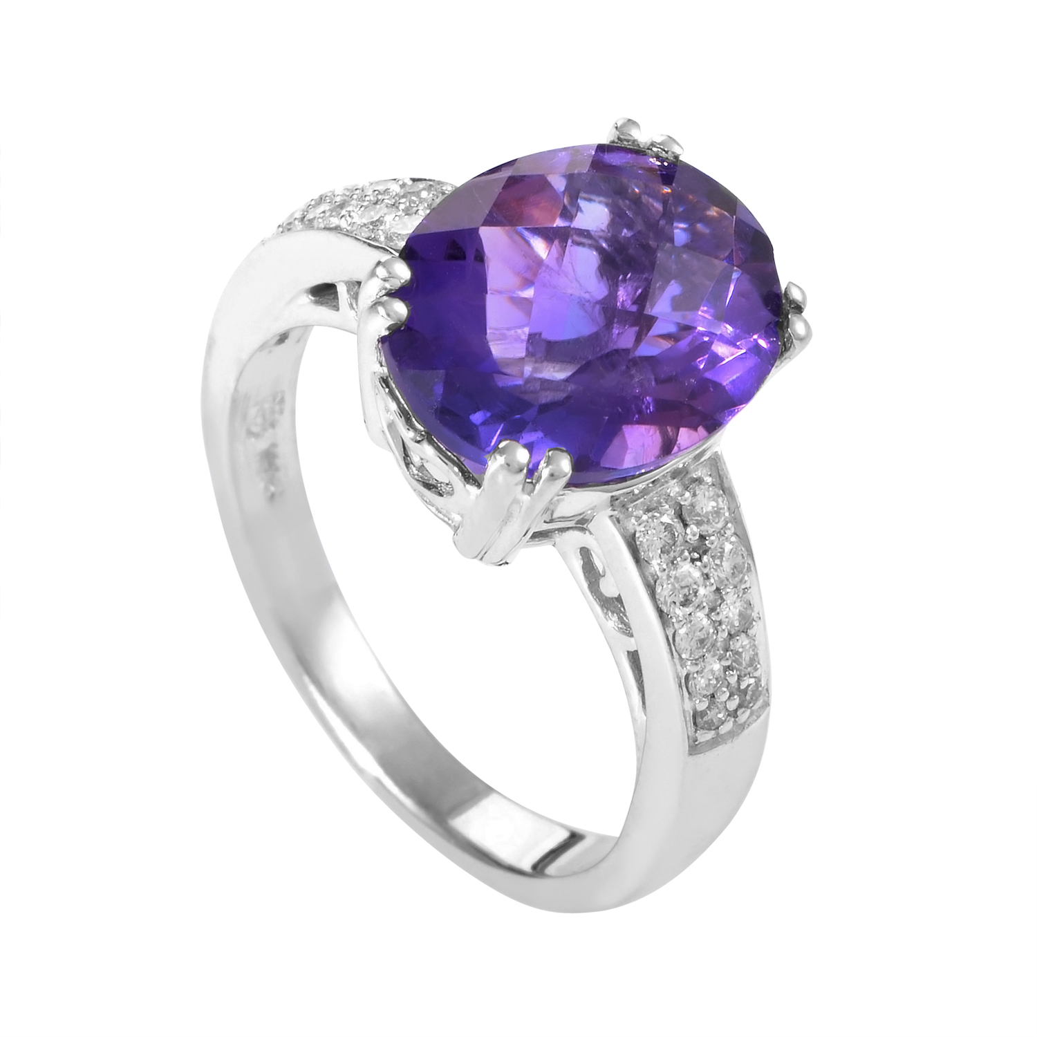 14K White Gold Amethyst & Diamond Ring RC4-10062WAM