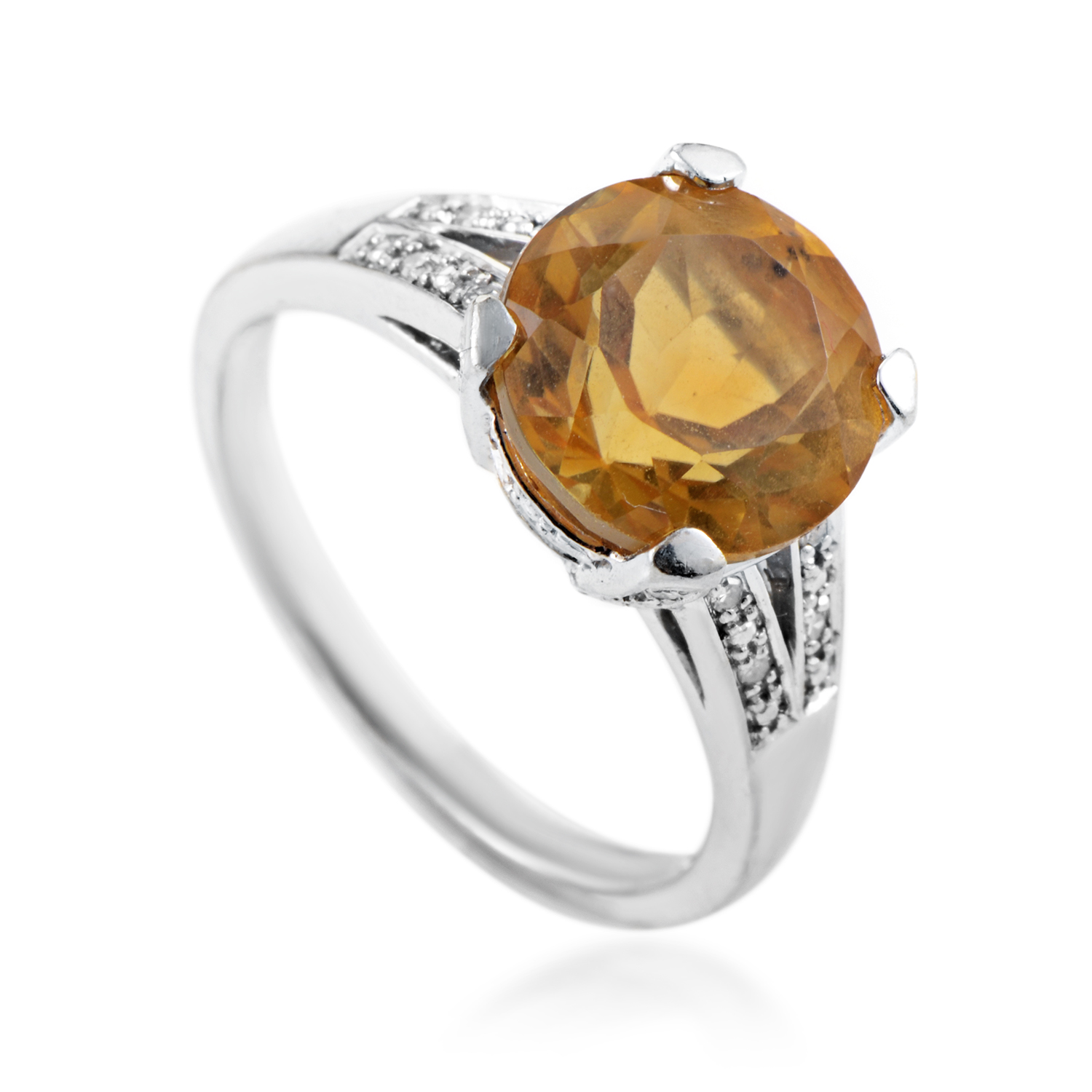 Women's 14K White Gold Diamond & Citrine Ring RC4-10062WAM