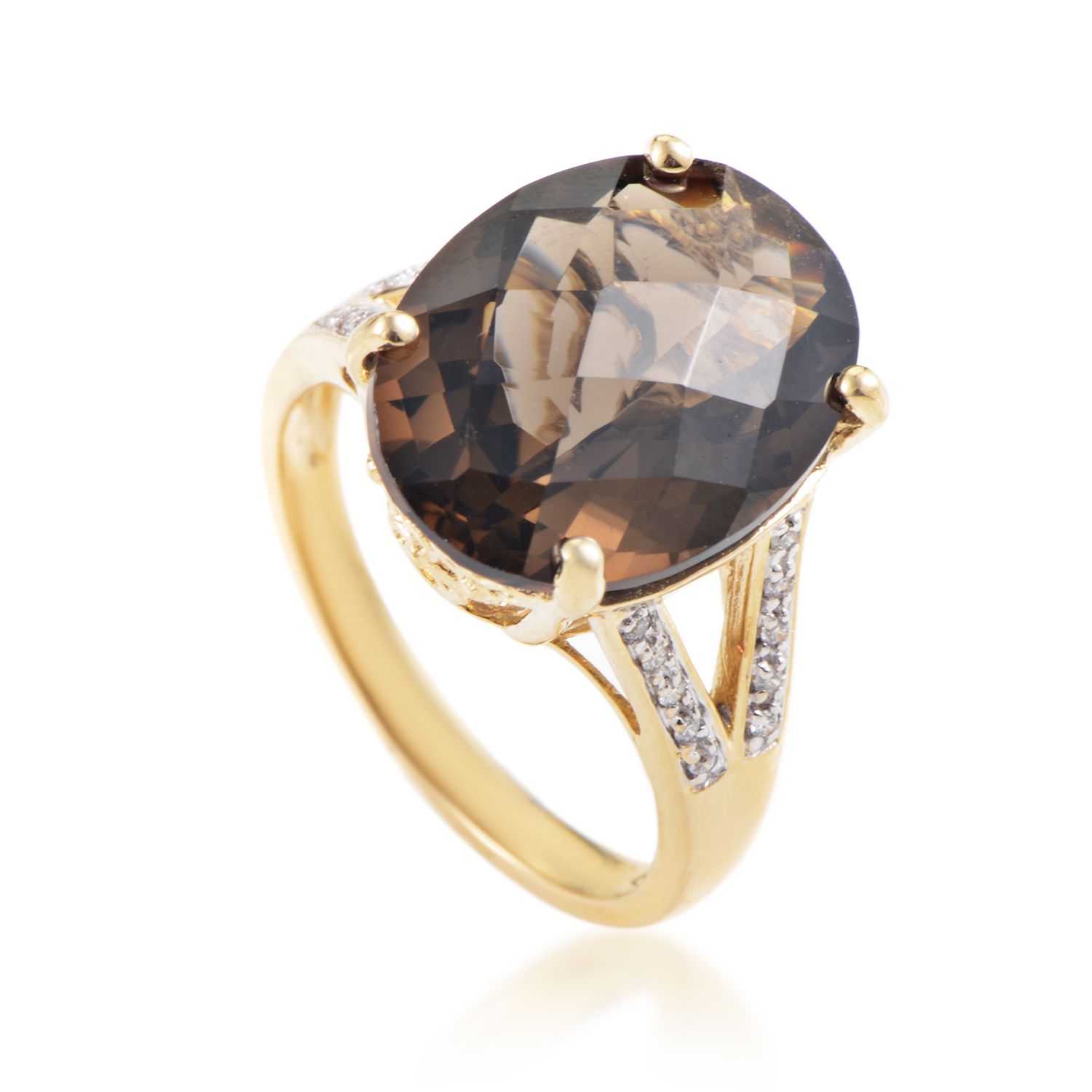 Women's 14K Yellow Gold Diamond & Smoky Quartz Ring RC4-10063YQS